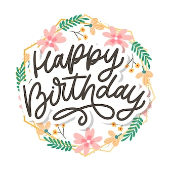 Happy birthday lettering calligraphy text