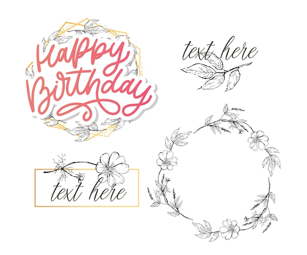 Happy birthday lettering calligraphy with flowers