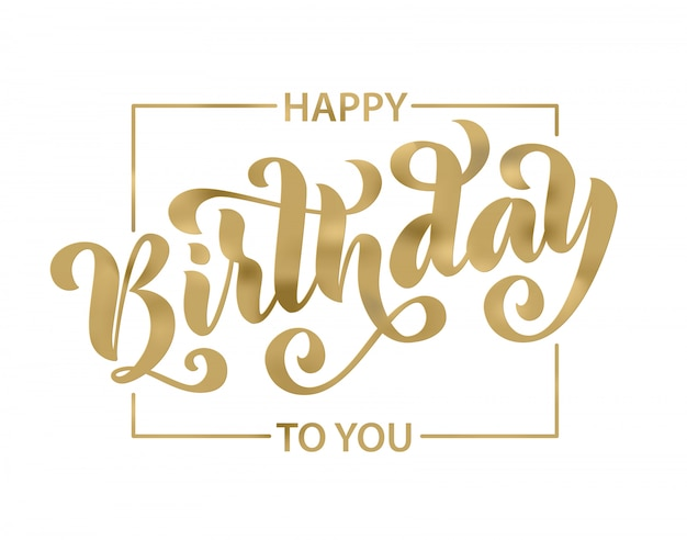 Happy birthday. lettering card.