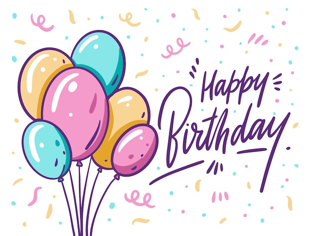 Happy birthday lettering and colorful balloons. in cartoon style. isolated on white background.