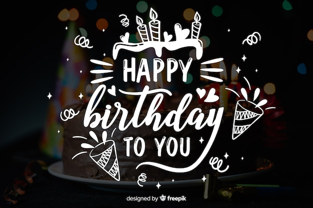 Happy birthday lettering concept with photo