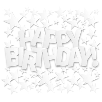 Happy birthday lettering greeting card. vector background