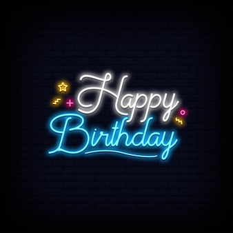 Happy birthday lettering neon sign signboard effect