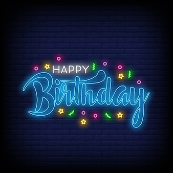 Happy birthday lettering neon text vector