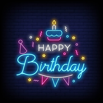 Happy birthday lettering neon text