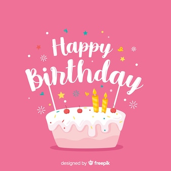 Happy birthday lettering on pink background
