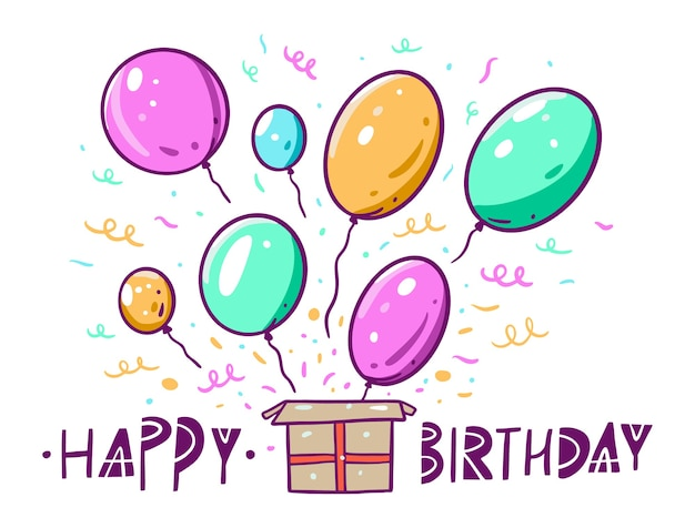 Happy birthday lettering in scandinavian style and box with balloons. in cartoon style. isolated on white background.