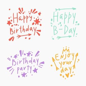 Happy birthday lettering set in boho style