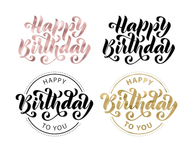 Happy birthday. lettering set