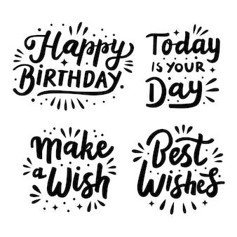 Happy birthday lettering set