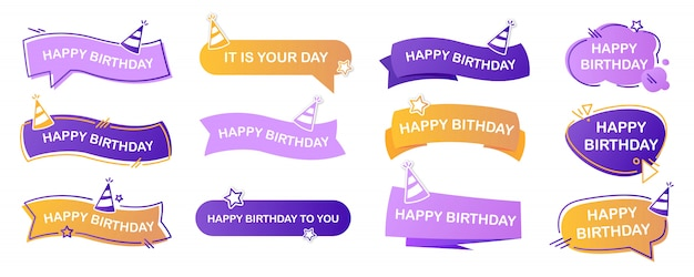 Happy birthday lettering set