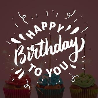Happy birthday lettering theme