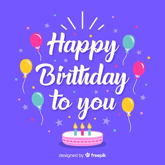 Happy birthday lettering with elements