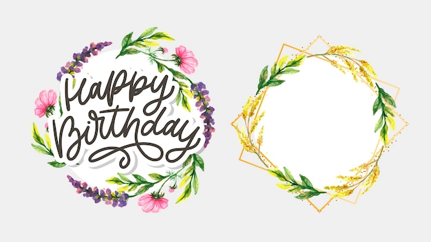Happy birthday lettering with flowers
