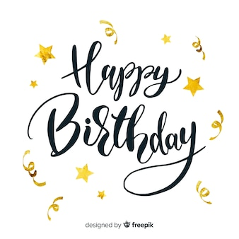 Happy birthday lettering with golden stars