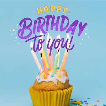 Happy birthday lettering with photo