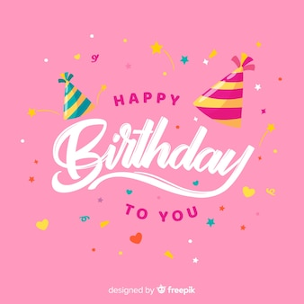 Happy birthday lettering with pink background