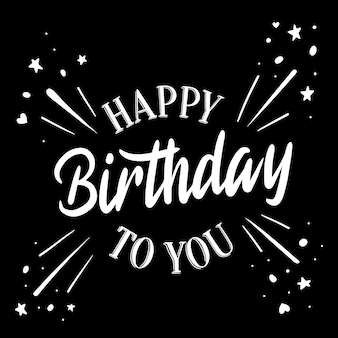 Happy birthday lettering with stars