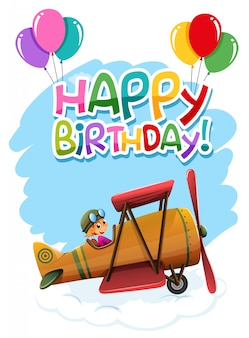 Happy birthday lettering with vintage plane illustration
