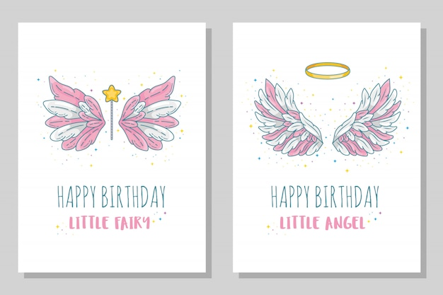 Happy birthday little fairy and angel card templates. wide spread wings with golden halo and magic wand. contour drawing in modern line  with volume.  illustration  on white.