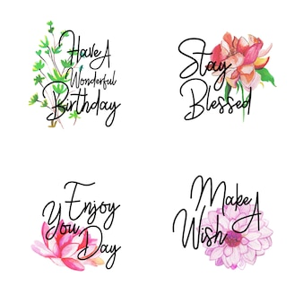 Happy birthday logo collection with watercolor floral
