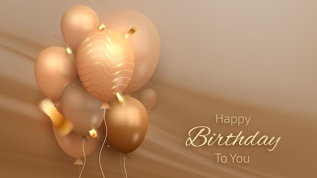 Happy birthday luxury card with balloons and golden ribbon on canvas scene, realistic 3d style. vector illustration for design.