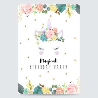 Happy birthday magical party invitation card with unicorn
