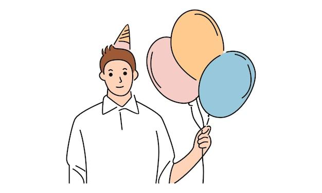 Happy birthday. a man holding balloon