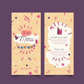 Happy birthday menu template