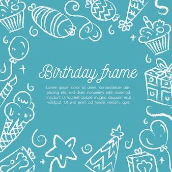 С днем рождения минимальная рамка украшения. шаблон поздравительной открытки
