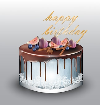 Happy birthday modern blue cake with fig fruits