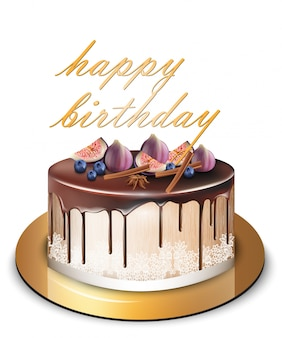 Happy birthday modern cake with fig fruits