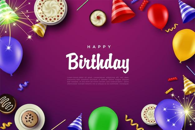 Happy birthday modern elegant background