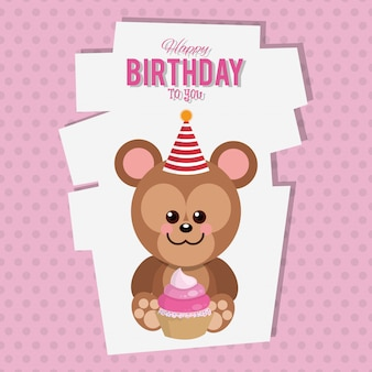 Happy birthday monkey cartoon card