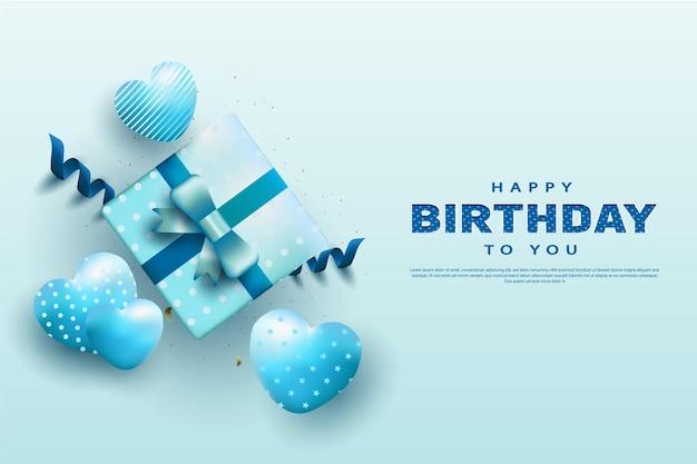 パターン化されたハートの風船と青い背景でお誕生日おめでとう