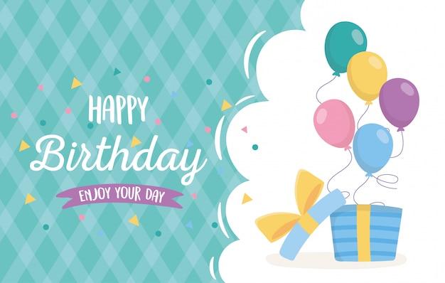 Happy birthday, open gift box with balloons celebration