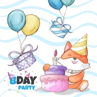 Happy birthday party baby fox hand drawn animal