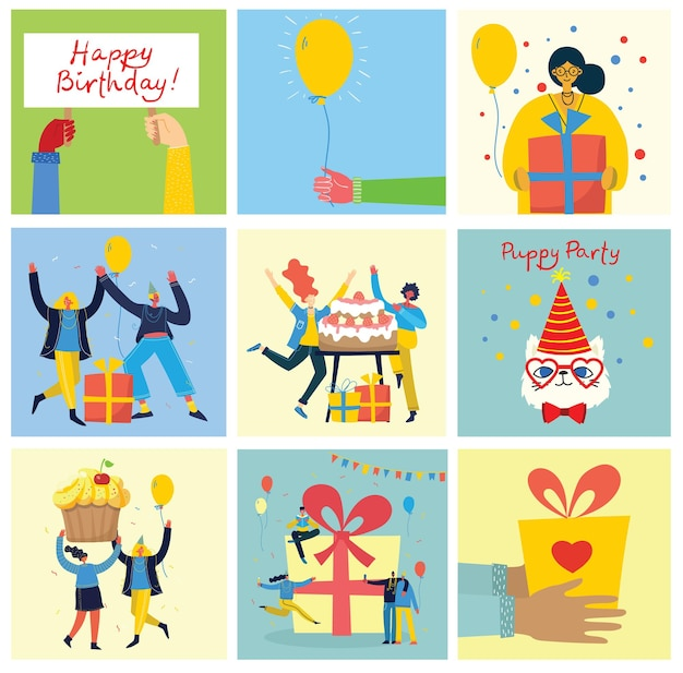 お誕生日おめでとうパーティーの背景。幸せな人々のグループが明るい背景で祝います。