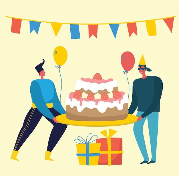 С днем рождения партии стола. счастливая группа людей празднует на ярком фоне. иллюстрация в плоском стиле