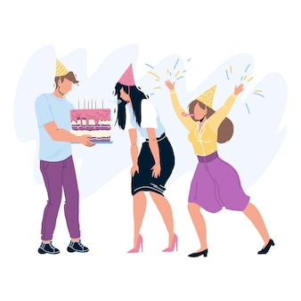 Happy birthday party celebrating people vector. birthday girl blowing candles on celebration cake. characters guests man and woman congratulating with anniversary flat cartoon illustration