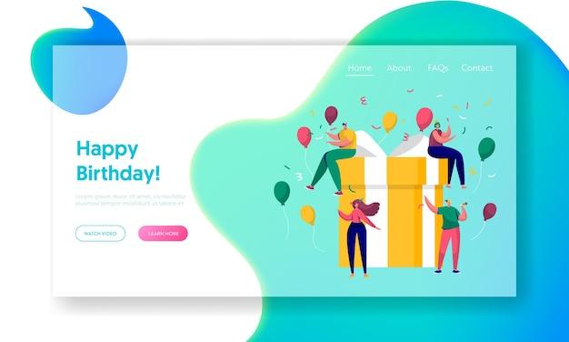 Happy birthday party celebration landing page.