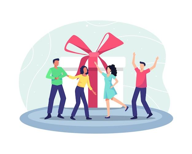 친구와 함께하는 생일 축하 파티. 행복한 사람들의 그룹은 선물 상자를 받습니다. 생일 파티에서 즐거운 시간을 보내는 행복한 만화 사람들. 평면 스타일의 벡터 일러스트 레이 션