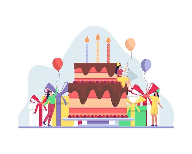 친구와 함께하는 생일 축하 파티. 사람들은 생일이나 기념일을 축하합니다. 생일 케이크를 들고 축하하는 여성 캐릭터, 플랫 스타일의 벡터 일러스트레이션