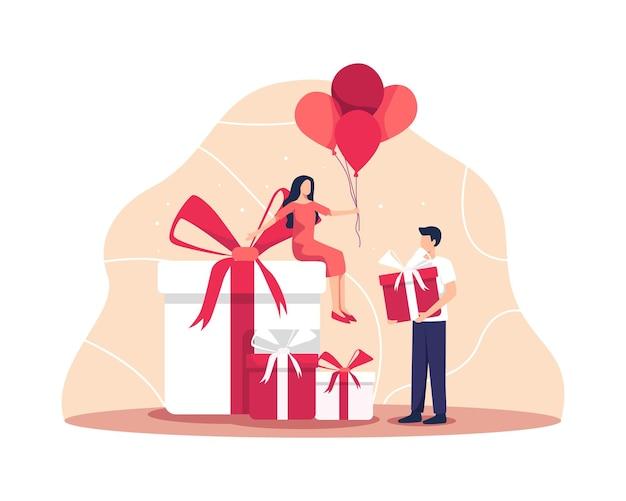 친구와 함께하는 생일 축하 파티. 선물 상자를 든 젊은 부부, 남자와 여자는 생일 파티에서 즐거운 시간을 보내고 있습니다. 평면 스타일의 벡터 일러스트 레이 션