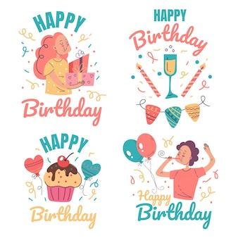 생일 축하 파티 이벤트 축하 라벨 인쇄 디자인 요소