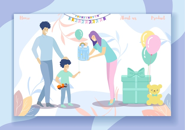 ハッピーバースデーパーティー。家族で楽しむ、両親と息子