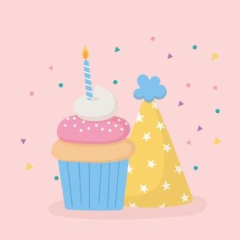 С днем рождения, праздничная шапка, сладкий кекс со свечой