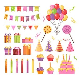 С днем рождения вечеринка значок элемент изолированный набор плоский дизайн иллюстрация