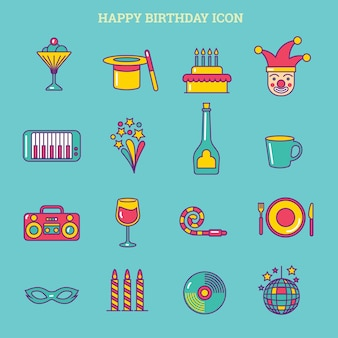 Happy birthday or party icon set