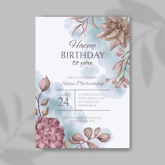 Happy birthday party invitation card with floral background template